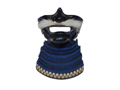 Menpo ou masque de samourai à moustache blanche, expertises art japonais