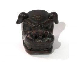 Netsuke en bois - Masque de shishimai