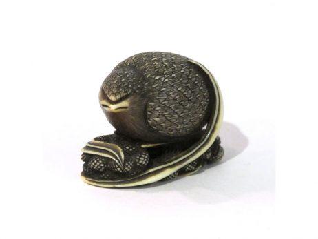 Netsuke en ivoire - Caille dans les millets par Dosei