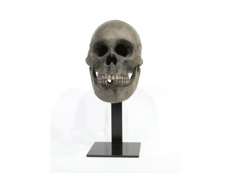 Okimono en bois représentant un crâne humain
