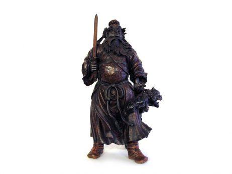 Okimono en bois - Shoki et un démon