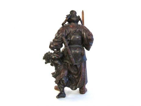 Okimono en bois - Shoki et un démon 2