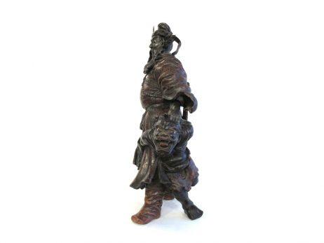 Okimono en bois - Shoki et un démon 3