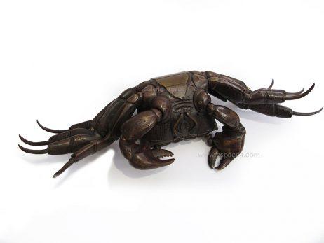 Jizai okimono - Crabe en bronze 4