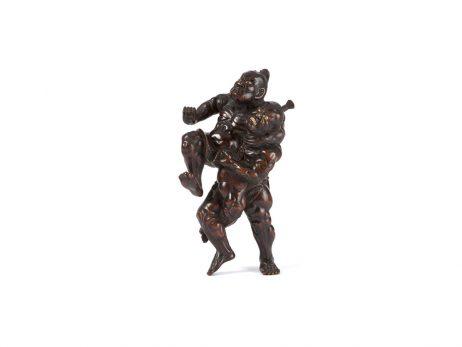 Okimono en bois - Nio lutteurs