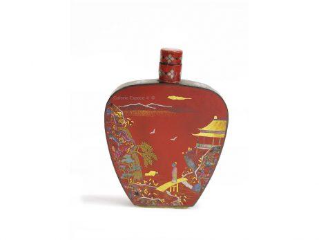 Tabatière chinoise en laque burgauté rouge sur cuivre 2
