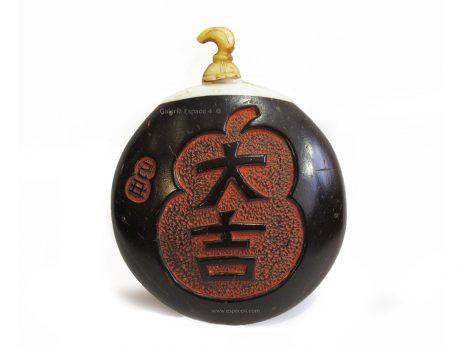 abatière chinoise de forme ronde en noix de coco