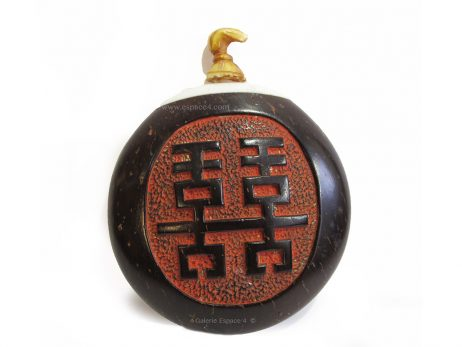 abatière chinoise de forme ronde en noix de coco 2