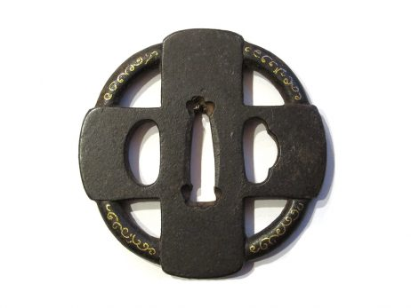 Tsuba en fer marugata - Motif namban de croix 2