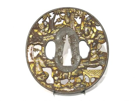 Tsuba en fer marugata - Les Sept Sages de la forêt de bambous