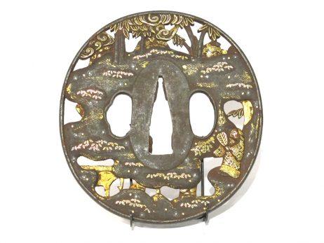 Tsuba en fer marugata - Les Sept Sages de la forêt de bambous 2