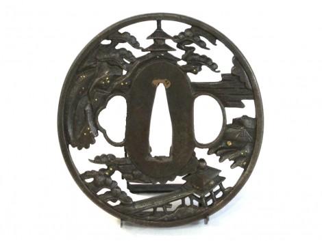 Tsuba - Pavillons et pagodes sous les pins