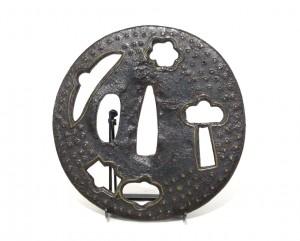 Tsuba en fer ajourée de forme nagamarugata