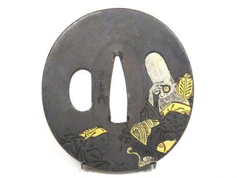 Tsuba décorée des trois Dieux du Bonheur