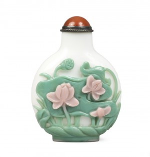Double tabatiere overlay rose verre lotus fleurs chine chinoise qing