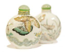 Paire tabatières chinoises porcelaine