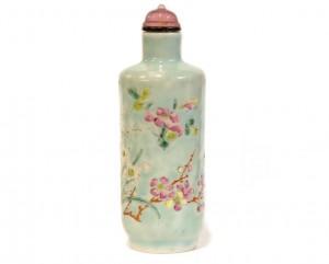 Tabatière chinoise porcelaine turquoise fleurs