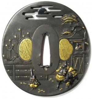 Tsuba shibuichi kogo no tsubone et nakakuni cheval edo japon japonaise samourai sabre copie