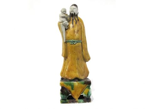 Sculpture porcelaine biscuit sage chinois sansai kangxi
