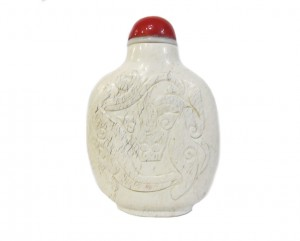 Tabatiere chinoise pierre collection expertise galerie art asiatique chinejade calcifie dragon