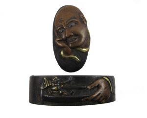 Fuchi kashira samouraï miniature