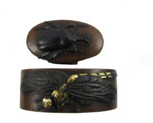 Fuchi kashira suaka libellule et scarabée
