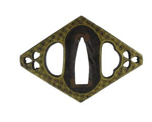 Tsuba en forme de losange en fer