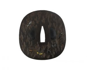 Tsuba incrustée de fourmis cuivre argent skahuko