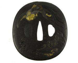Tsuba ovale phénix pin